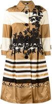 Herno striped flared coat - women - Polyamide/Acetate/Polyester - 42