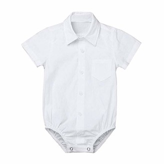 DressLksnf Newborn Baby Boys' Romper Bodysuit Girl Formal Shirts Gentleman Wedding Party Solid Color Outfits Baby Girls 0-24m Footies White