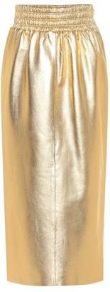 Miu Miu Metallic leather midi skirt