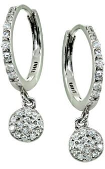 Giani Bernini Pave Cubic Zirconia Disc Charm Drop Huggie Hoop Earring in Sterling Silver