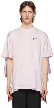 Burberry Pink Striped Cape Detail Oversized T-Shirt