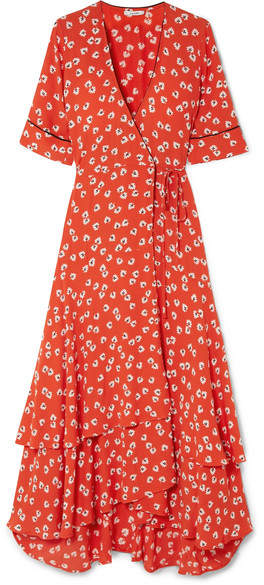 Ganni Floral-print Crepe De Chine Wrap Dress - Red