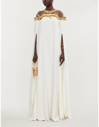 Oscar de la Renta Sequin-embellished silk-georgette gown