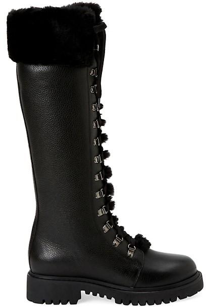 Aquatalia Joslyn Knee-High Faux Fur-Trimmed Leather Boots