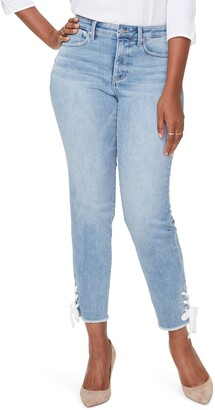 Curves 360 by NYDJ High Waist Lace-Up Ankle Slim Straight Leg Jeans
