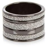 River Island Womens Gunmetal diamanté stacked ring