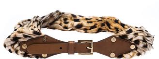 Roberto Cavalli Leopard Print Satin and Leather Waist Belt 95CM
