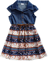 Sweet Heart Rose Denim Floral Dress, Toddler & Little Girls (2T-6X)