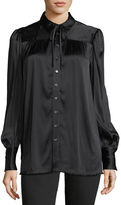 Frame Button-Front Long-Sleeve Satin Blouse w/ Tie-Neck