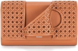 Perrin Paris L'Asymetrique brown woven leather clutch