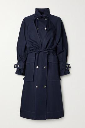 Kenzo Cotton And Linen-blend Gabardine Coat - Midnight blue