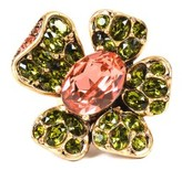 Oscar de la Renta Brass with Green Pink Swarovski Crystals Flower Ring Size 7