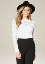 Bebe Lace Boatneck Top