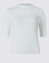 Limited Edition Cotton Blend Crochet Lace Round Neck Jumper