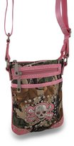 Zeckos Forest Camouflage Cross Body Bag w/Mock Croc Vinyl Trim and Rhinestone Skull