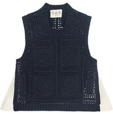 Sea Poplin-paneled Crocheted Cotton Top - Navy
