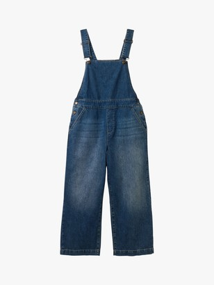 White Stuff Denim Cropped Wide Leg Dungarees, Mid Blue