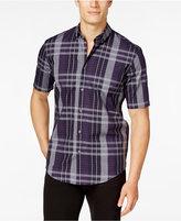 Alfani Men's Big and Tall Plaid Short-Sleeve Shirt, Classic Fit