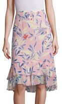 See by Chloe Tropical Print Silk Skirt