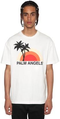 Palm Angels SUNSET PRINT COTTON JERSEY T-SHIRT