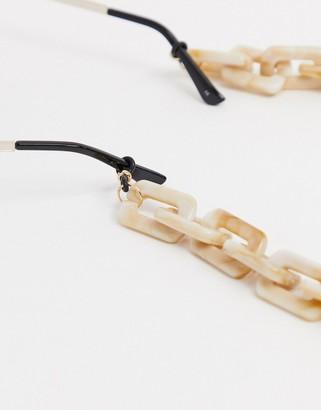 ASOS DESIGN sunglasses chunky chain in white