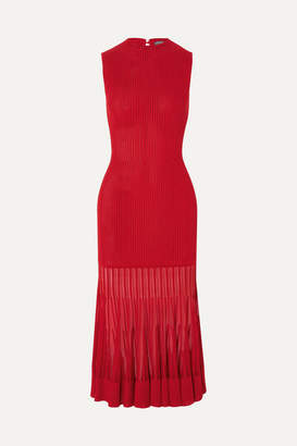 Alexander McQueen Mesh-paneled Ribbed Stretch-knit Dress - Red