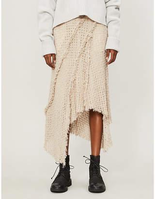 WEN PAN Asymmetric-hem frayed-trim knitted midi skirt