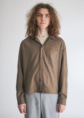 Goetze Men's Billy Camp Collar Shirt Jacket in Brown Wool, Size 46