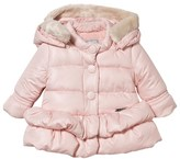 Mayoral Pale Pink Hooded Coat with Detachable Faux Fur Trim