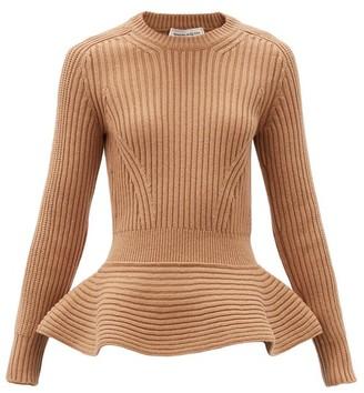 Alexander McQueen Peplum-hem Rib-knitted Wool-blend Sweater - Camel