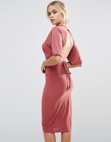 Club L Flute Sleeved Detailed Midi Dress With Open Back