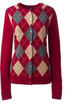 Classic Women's Cashmere Argyle Cardigan Sweater-Crisp Burgundy Multi Stripe