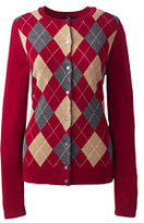 Lands' End Women's Cashmere Argyle Cardigan Sweater-Crisp Burgundy Multi Stripe