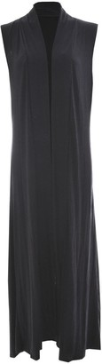 GirlzWalk Ladies Womens Sleeveless Front Open Long Length Boyfriend Maxi Cardigan (Black XXXL 24-26)