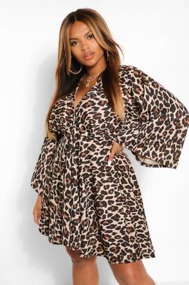 boohoo Plus Leopard Plunge Kimono Skater Dress