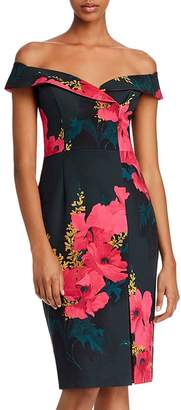 Black Halo Floral Off-the-Shoulder Dress