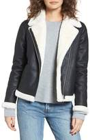Obey Chlo? Faux Leather Moto Jacket with Faux Fur Trim