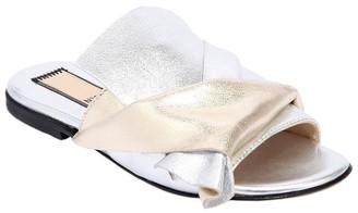 N°21 Two Tone Metallic Leather Slide Sandals