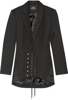 Anthony Vaccarello Lace-up Wool Blazer - Black