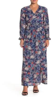 Daniel Rainn DR2 by Tie Waist Floral Long Sleeve Maxi Dress