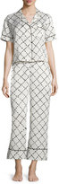 Kate Spade Faux-Quilted Print Cropped Two-Piece Pajama Set, White