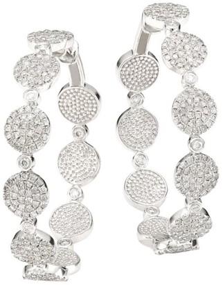 Meira T 14K White Gold & Diamond Disc Hoop Earrings