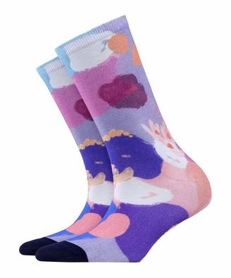 Burlington Women's Painted Flower Calf Socks
