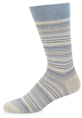 Marcoliani Milano Bellagio Stripe Linen-Blend Crew Socks