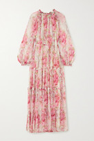 Needle & Thread Ruby Bloom Ruffled Floral-print Fil Coupe Chiffon Gown