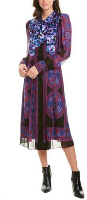 Anna Sui Rose Medallion Border Silk-Trim Midi Dress