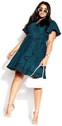 City Chic Sweet Love Lace Dress - peacock