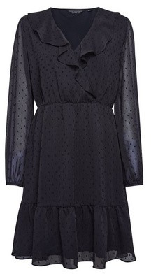 Dorothy Perkins Womens Black Dobby Ruffle Fit And Flare Dress, Black