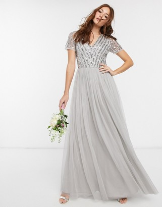Maya Bridesmaid v neck maxi dress with tonal delicate sequin in silver