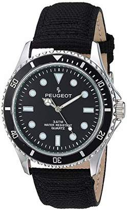 Peugeot Men's Sport Bezel Watch with Canvas Wrist Band